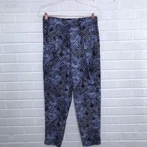 Aritzia Community Silk Printed Tapered Pants Blue